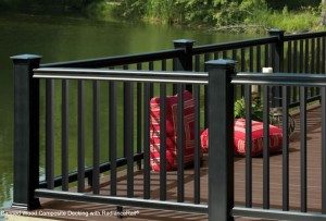 black composite picket railing. RadianceRail TimberTech
