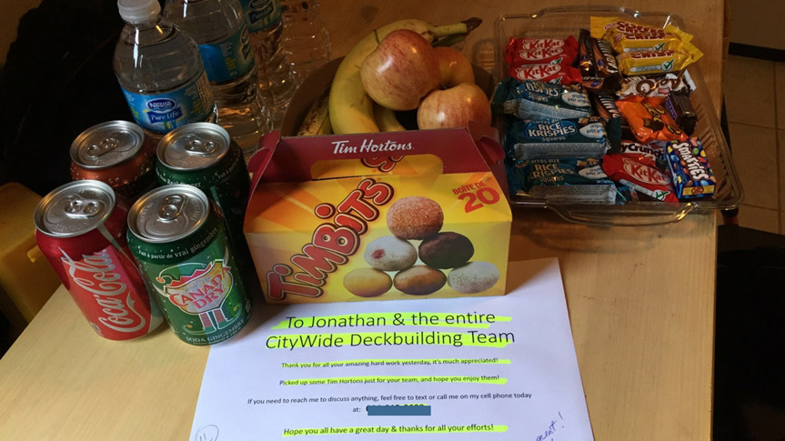 Citywide Sundecks happy customer note and treats for crew