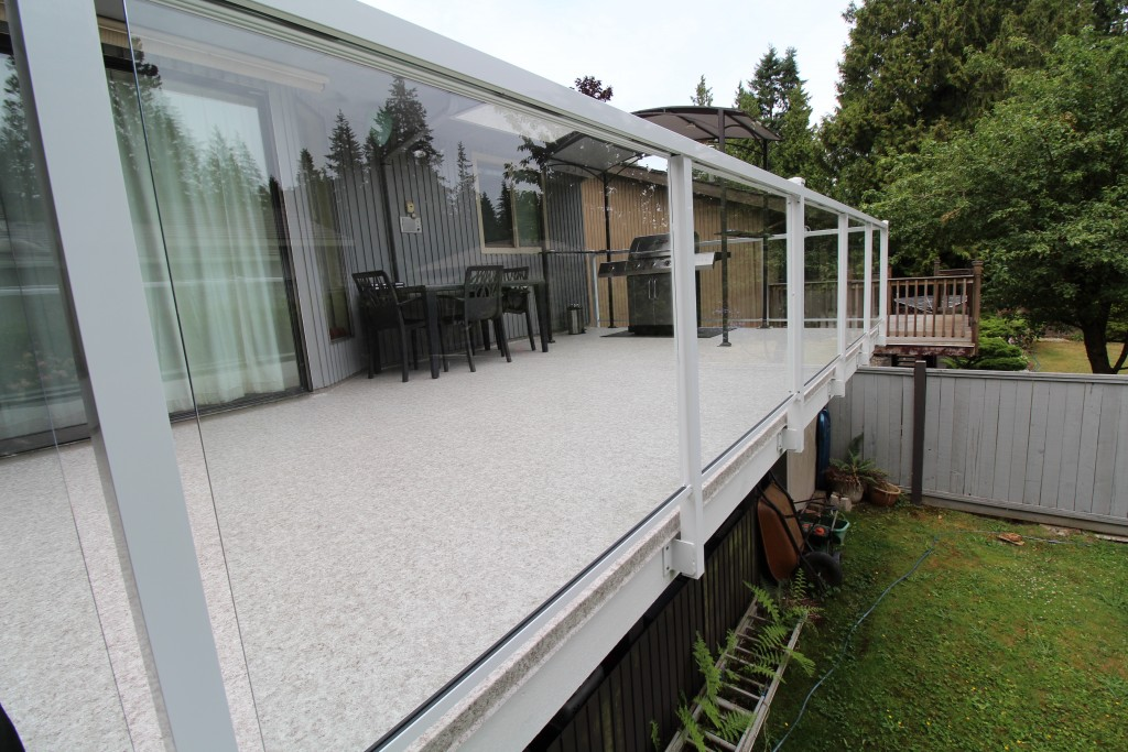 Citywide Sundecks Delta Duradek Sundeck glass and aluminum white railings